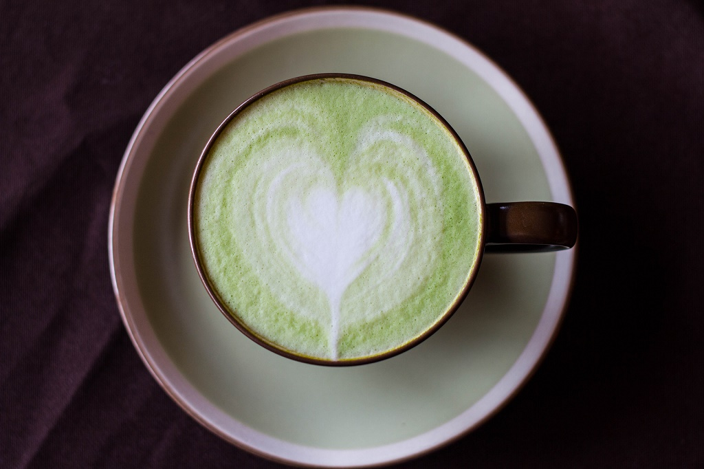 Matcha Latte Cup of green tea with heart ** Note: Visible grain at 100%, best at smaller sizes