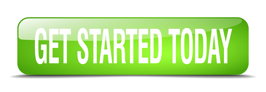 get started today green square 3d realistic isolated web button