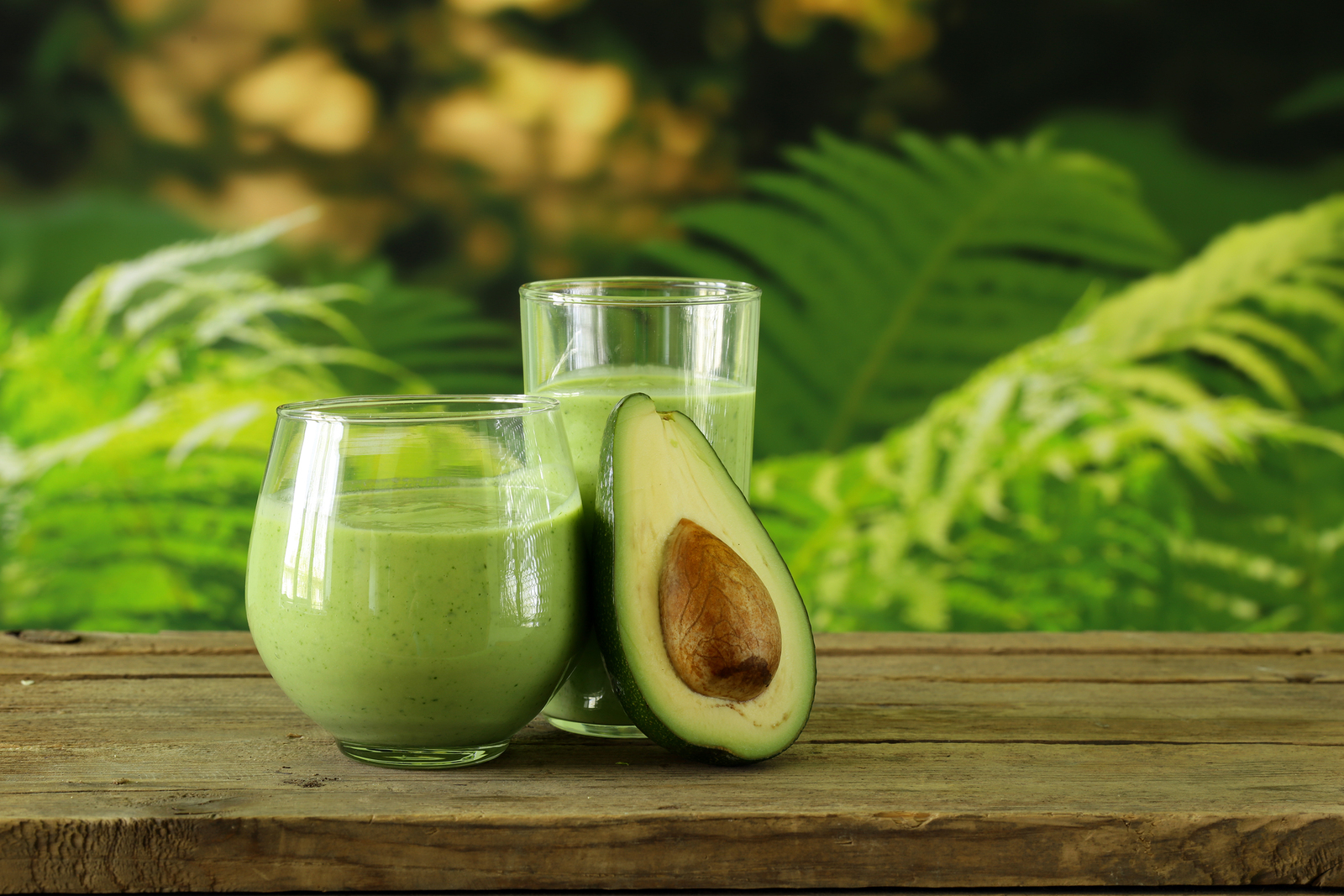 natural drink a smoothie with avocado, herbs and yogurt