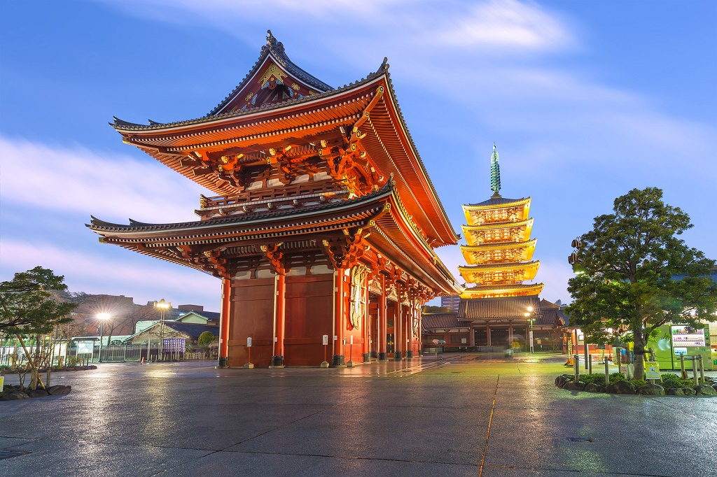 Tokyo Japan - February 17 2015: Tokyo - Sensoji is an ancient Buddhist temple located in Asakusa Tokyo Japan. It is Tokyo's oldest temple and one of its most significant.