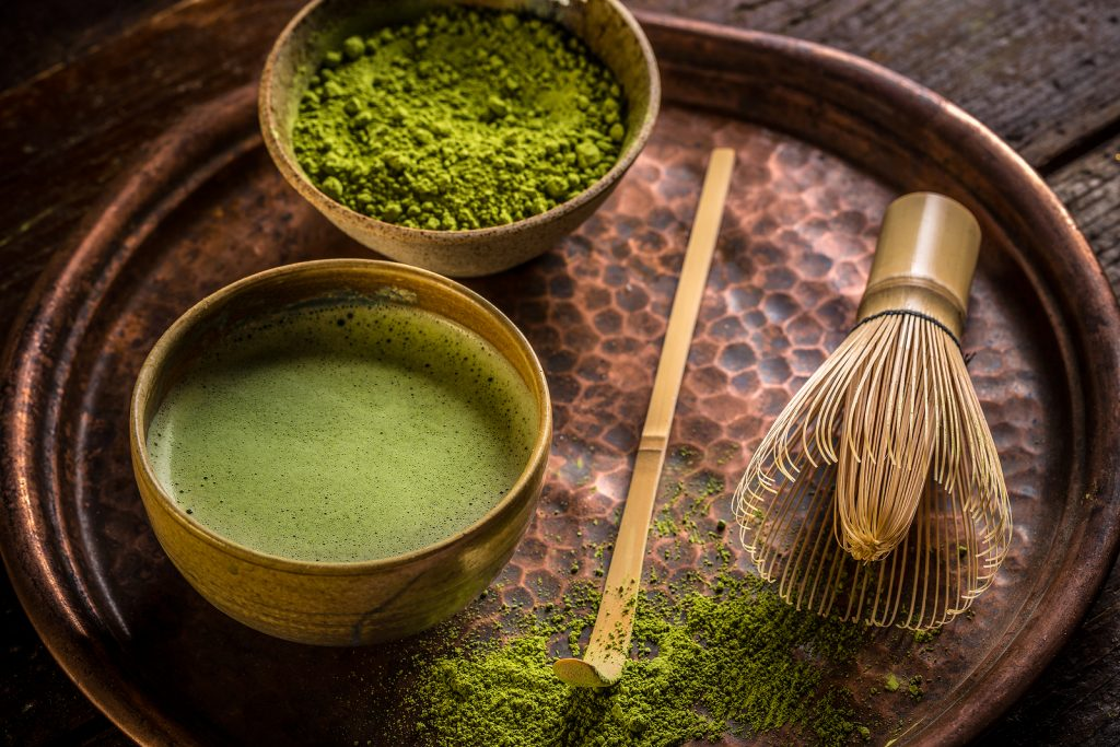 Japanese traditional tea set with powdered green tea matcha